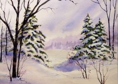 Snowfall at the Lake 11in X 15 in. watercolour painting on Arches 140lb cold pressed paper. by Ken Crawford