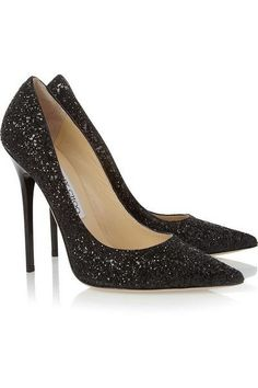 Shop for Anouk Glitter-Finished Leather Pumps by Jimmy Choo at ShopStyle. Stilettos, Black Pumps Heels, Stiletto Heels, High Heels, Shoes Heels, Black Shoes, Prom Shoes, Pretty Shoes, Beautiful Shoes