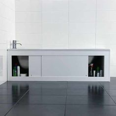 Croydex Unfold 'N' Fit White Bath Panel & Lockable Storage - Side 1680mm