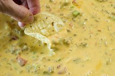 'greatest queso that ever lived'; velveeta, cream cheese, rotel, cream mushroom soup, ground beef/sausage. THAT SOUNDS AMAZING
