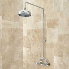 Baudette Exposed Pipe Wall-Mount Shower With Rainfall Shower Head. It wouldn't damage the cute tile!