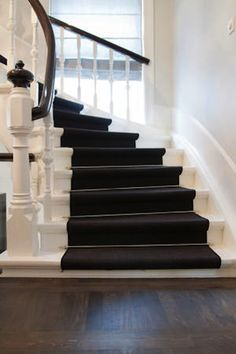 trapp inspirasjon - zwarte loper - houten vloer