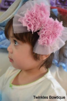 Light pink shabby chic hairbow headband by TwinklesBowtique, $5.50