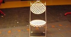 Dollhouse Miniature Furniture - Tutorials   1 inch minis: 1 INCH SCALE BISTRO CHAIR TUTORIAL - How to make a doll house bistro chair from card stock.