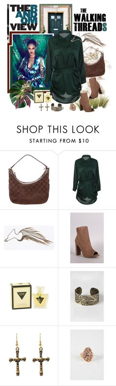 """""""WALKING THREADS Green Satin Long Sleeve Romper/Dress"""" by carola-corana ❤ liked on Polyvore featuring Gucci, GUESS and twalkingthreads"""