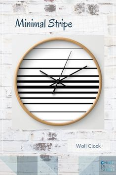 A black and white, lined or striped, minimalist wall clock for those who like simplistic living and clean, uncomplicated decor. Antique Wall Clocks, White Wall Clocks, Striped Walls, White Walls, Minimalist Wall Clocks, Office Stationery, Tech Accessories, In This World, Decorative Items