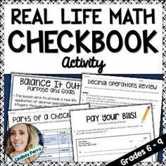 Real World Math Checkbook Lesson and Activity                                                                                                                                                                                 More