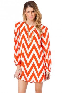 Forever Zig Zag Long Sleeve Shift Dress in Blood Orange