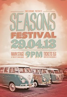 """Seasons Festival Free PSD Flyer Template - http://freepsdflyer.com/seasons-festival-free-psd-flyer-template/ """"Seasons Festival"""" – This flyer was designed to promote a Indie / Alternative / Rock / Folk / Pop music event, such as a gig, concert, festival, party or weekly event in a music club and other kind of special evenings. Another great indie rock flyer called """"Seasons Festival"""" that I made for a summer music festival.. Simple typography work combined with a gr"""