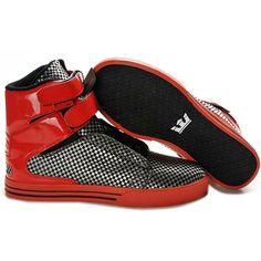 2012 New Supra Shoes Black Silver Plaid Red,Cheap 2012 New Supra Shoes... via Polyvore