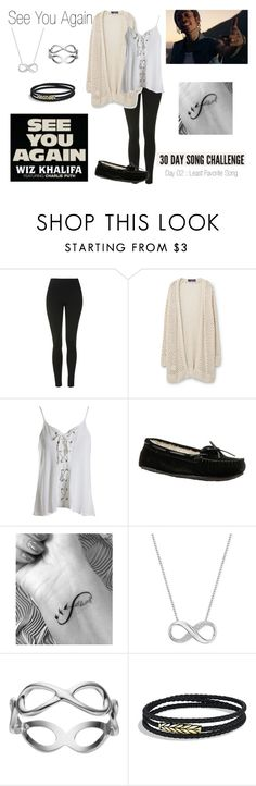 """""""Day 2 - See You Again by Wiz Khalifa ft. Charlie Puth"""" by lola-twfanmily ❤ liked on Polyvore featuring Topshop, Violeta by Mango, Sans Souci, Minnetonka, Swarovski, Primrose and David Yurman"""