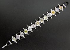 Colored Diamond, Diamond, Platinum and Rubber Bracelet by James de Givenchy for Sotheby's Diamonds #Taffin #JamesdeGivenchy #SothebysDiamonds #Bracelet