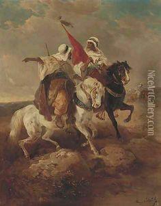 desert Fantasy Warriors | ... www.niceartgallery.com/Adolf-Schreyer/Arab-warriors-in-a-desert.html