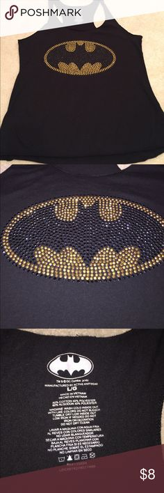 Batman rhinestone tank top muscle tee This tank top was worn once! It's like new and is super soft. There are sparkle rhinestones on the batman symbol that make it hard to not take a second look! tm & dc comics Tops Muscle Tees