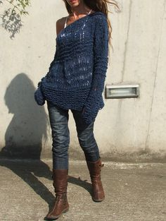 Blue sweater / Electric blue asymmetrical Version 2 by ileaiye, $115.00 >> This is awesome! Love the style and color, cute boots too!