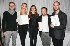 On Thursday May 8th, the Narciso Rodriguez (heart) Bottletop Collection x Pepsi was awarded the coveted Green Carpet Challenge Brandmark by Eco Age creative director Livia Firth. Pictured: Oliver Wayman (Bottletop Co-Founder), Candice Swanepoel (Bottletop Brand Ambassador), Livia Firth (Eco Age Creative Director), Narciso Rodriguez, Cameron Saul (Bottletop Co-Founder).