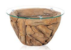 Couchtisch Aus Teak Restholz Massivholz Runde Glasplatte 85,0 Cm 21238