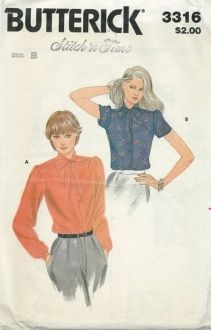 An original ca. 1970 Butterick Pattern 3316.  Misses' Blouse - Loose-fitting blouse has stand collar extending into ties, front buttoned closing, front gathered into forward shoulder seams, full length sleeves gathered at cap and into buttoned cuffs with continuous lap opening.  Purchased belts.