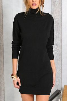 Pure Color High Neck Long Sleeves Party Dress - US$19.95 -YOINS