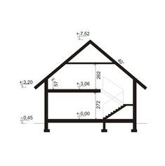 Przekrój DA Aspazja 3 CE 1200 Sq Ft House, 2bhk House Plan, Loft Room, Construction Cost, Dream House Exterior, Spacious Living Room, Architecture Details, Drafting Desk, Ground Floor