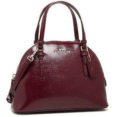 Coach Peyton Patent Saffiano Leather Mini Dome Satchel Removable Crossbody Strap in Sherry - Handbag