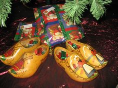 Our family tradition is to put our klompen or wooden shoes on the front step on St. Nicholas Eve, December 5th. We leave some speculaas cookies for St. Nicolaas and Zwarte Piet and a carrot for S. Nicolaas' horse.  In the morning, if we've been good, there will be a chocolate letter and a few small gifts.