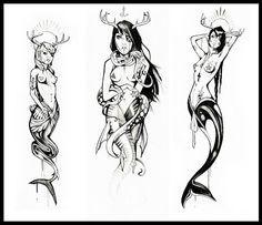 """Résultat de recherche d'images pour """"sirène paysage tatouage"""""""