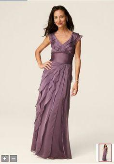 David's Bridal Bridesmaid Dresses Flutter Sleeve Iridescent Chiffon Tiered Dress Style 082844460