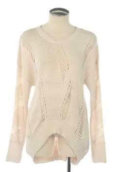 RIB TRIMMED DESTROYED HIGH-LOW SWEATER, $34.00