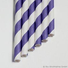 Papiertrinkhalm Streifen violett