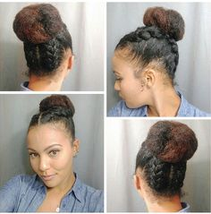 I refuse to wash my hair until Monday so I had to do a cool style to distract everyone from my dirty hair haha I did four loose braids with a messy bun. Low maintenance hair for the long weekend! Natural Hair Updo, Natural Hair Journey, Natural Hair Care, Natural Hair Styles, Protective Hairstyles, Braided Hairstyles, Protective Styles, Low Maintenance Hair, Pelo Afro