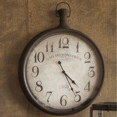 Rustic Metal Pocket Watch Wall Clock