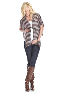 Cocoa Striped Maternity Button Poncho by Lilac Maternity Clothes Online, Cute Maternity Outfits, Nursing Clothes, Stylish Maternity, Pregnancy Outfits, Maternity Wear, Maternity Fashion, Cute Outfits, Pregnant Clothes