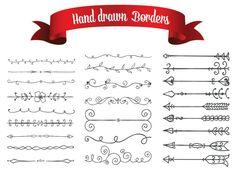 Hand Drawn Decorative Border Arrow Lines Digital by digitallove1