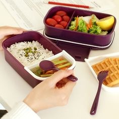 【 $11.22 & Free Shipping 】Fun Life Japan style Double Tier Bento Lunch Large Meal Box Tableware Microwave Dinnerware Set | Buying & Reviews on AliExpress