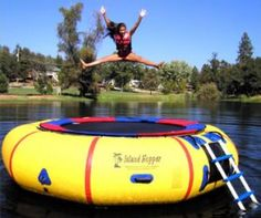 Swimming in a lake is always more fun when you have toys to play with, and the bigger the better. Water trampolines are undoubtedly some of the biggest lake toys around. Lake Rafts, Lake Toys, Water Trampoline, Pool Floats, Lake Floats, Boat Safety, Big Lake, Lake Cabins, Cool Pools