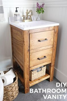 French Home Interior New DIY Bathroom Cabinets Diy Bathroom Vanity, Rustic Bathroom Vanities, Diy Vanity, Diy Bathroom Decor, Bathroom Ideas, Bathroom Organization, Bathroom Makeovers, Remodel Bathroom, Vanity Ideas