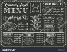 A full vector template Chalkboard menu