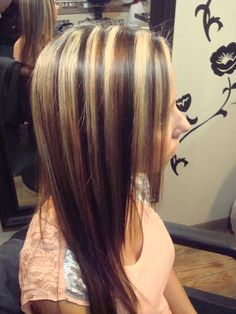 Light Blonde Hair Highlights | Chunky blond highlights with dark and caramel low lights. This look ...