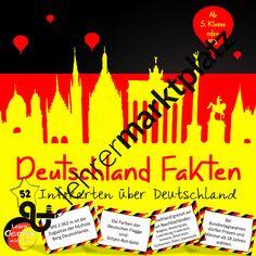 Deutschland Fakten Infokarten – D.a.F. / D.a.Z., Deutsch, Sachunterricht