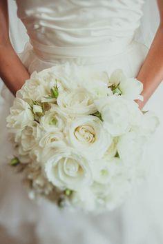Classic white rose bouquet