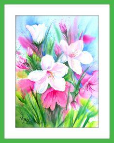 Garden Watercolor Spring Flowers by MarthaKislingArt