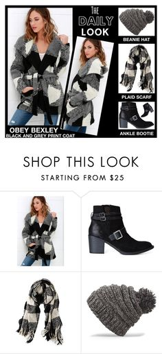 """""""The Daily Look - Obey Bexley Black And Grey Print Coat"""" by latoyacl ❤ liked on Polyvore featuring OBEY Clothing, American Eagle Outfitters and Dakine"""