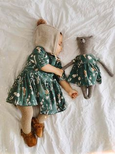 Matching Toy Bear and Baby/Toddler Dress in Wildflower Print Little Girl Fashion, Toddler Fashion, Fashion Kids, Latest Fashion, Cute Baby Clothes, Vintage Baby Clothes, Babies Clothes, Women's Clothes, Kids Wear