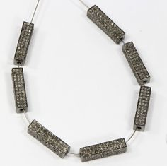 Rectangle 3-dimensional Beads in .925 Sterling Silver with oxidized Pave Diamonds