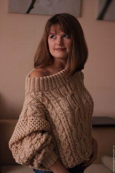 Купить Свитер в стиле Рубан - тёмно-зелёный, вязание на заказ, вязаный свитер, рубан