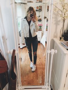 I loooove chilly days. Rag & bone jeans, urban pullover, flannel, white leather jacket (tjmaxx), converse