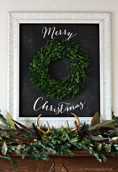 Merry Christmas Chalkboard Mantel with free printable--- can use framed chalkboard for yearlong messages.