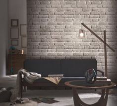 Ash grey brick wallpaper. Trompe l'oeil wallpaper by Koziel. Made in France.