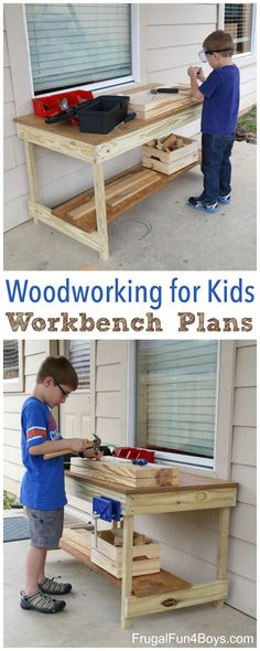 Kids' Workbench Plans:  Build Your Own Kids' Woodworking Space! Download and print the plans for this tool bench for kids.